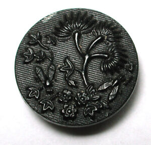 """Antique Horn Button Floral w Flying Winged Insect 11/16""""  1890s"""