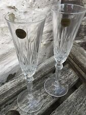 Set of Two Beautiful Cut Glass Capri Crystal Champagne Flutes