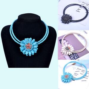 Women Bib Choker Turquoise Beads Flower Pendant Necklace Christmas Gift Jewelry