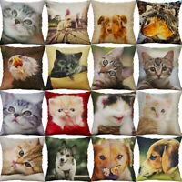 """18"""" Dog Cat Print Cotton Linen Pillow Case Sofa Cushion Cover Throw Home Decor"""