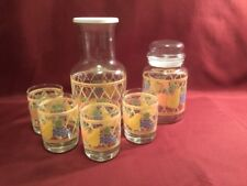 Vintage Libbey Juice Carafe, 4 Juice Glasses And Apothecary Jar with Lid