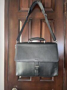 Filofax Black Leather Laptop Shoulder Bag Briefcase Satchel Messenger Excellent