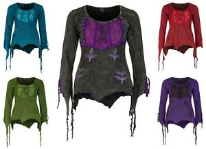 New Women Long Sleeve Funky Pixie Top Pagan Style up to Plus Size