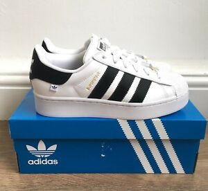 ADIDAS SUPERSTAR BOLD WHITE BLACK GOLD WOMENS LEATHER TRAINERS UK 6 - FY0406