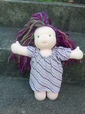 "Bamboletta 14"" Waldorf Ooak Friend Green Purple Hair Green Eyes Doll *Rare*"