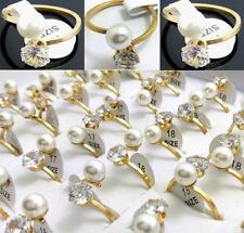 30x Women's Pearl Zircon Rings Engagement Rings Party Favor Jewelry Wholesale