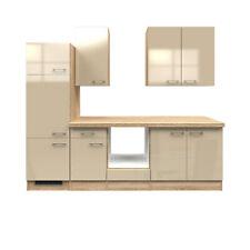 Küchenblock ohne Elektrogeräte Küchenzeile Einbauküche 270 creme beige glänzend