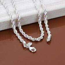 """3mm Silver Sterling 925 Twisted Rope Chain Necklace Length 16""""/18""""/20""""/28""""/30"""""""