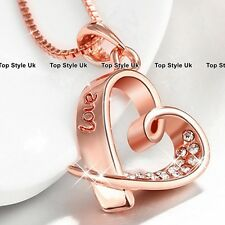 Love Engraved Heart Necklace Pendant Chain Rose Gold Gift for Women Wife E5