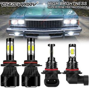 For Chevy Caprice 1987-1990 - 4X 6000K Front LED Headlight Bulbs Kit Hi/Lo BEAM