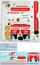 1/10 NEW Ferrari 2016 SF16-H 2015 SF15T F1 Decal Sticker for Tamiya F104 RC body