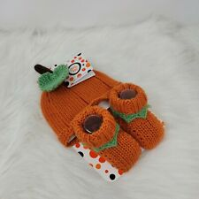 NEW Little Me Baby Hat Booties Set Pumpkin Orange NWT Kid Baby Clothes 0-6 Month