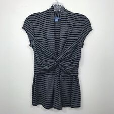 Anthropologie Lil Taking Turns Top Striped Front Knot Twist Gray Size XS