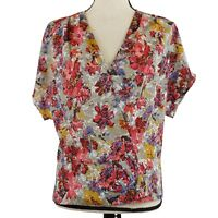 Pleione Womens Wrap Top Red Gray Gold Size Small Floral Print Short Sleeve