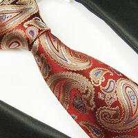 Paul Malone dunkelrote Krawatte - rot beige paisley Seidenkrawatte 2066