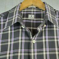 PETER MILLAR Size Large 100% Cotton Button Down Front Sport Shirt Black Plaid