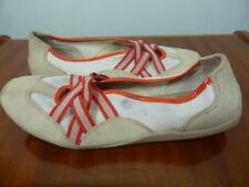 "DIANA FERRARI red orange beige ""Mannie"" casual sneakers flats sz 8C"