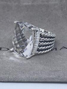 David Yurman Ster. Silver 16x20mm Wheaton ring White Topaz Diamonds Sz8