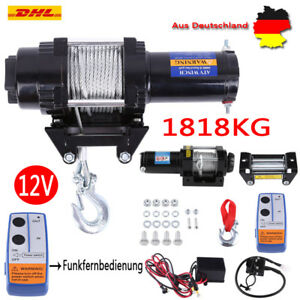 12V Elektrische Seilwinde Motorwinde Offroad 12.Volt 1818kg Funkfernbedienung FI