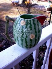 Vintage Sigma The Tastesetter Pitcher Sculptured Watermelon Hand Painted