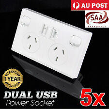 5x Dual USB Australian Power Point Home Wall Power Supply Socket SAA Approval AU