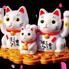 Lucky Cat Smile Waving Figurine Feng Shui White Solar Power Car Desk Home Decor