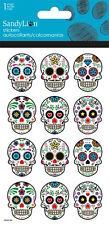 12 Glitter  Day Of The Dead Dia De Los Muertos Stickers Party Favors Sugar Skull