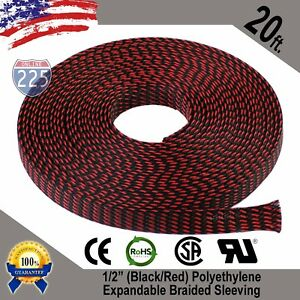 """20 FT 1/2"""" Black Red Expandable Wire Sleeving Sheathing Braided Loom Tubing US"""