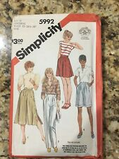 Vintage 1983 Simplcity Sewing Pattern Size N (10,12,14) Culottes, Wide Leg Pant