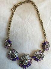 NWOT Purples Faceted Gem Crystal Flower Gold Statement Necklace