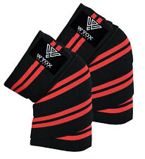 Weight Lifting Knee Wraps deadlift Support Gym Training Straps PAIR