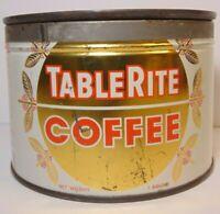 Vintage 1950s TABLE RITE COFFEE KEYWIND COFFEE TIN 1 POUND IGA TORONTO CANADA