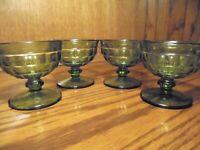 Vintage Set (4) Sherbet Fruit Cocktail Green Glasses Dishes Indiana Glass     68