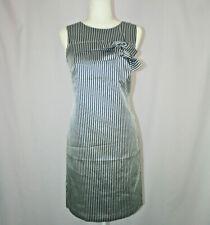 Banana Republic Navy Blue Ivory Striped Sleeveless Bow Sheath Dress - Size 4