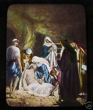Glass Magic Lantern Slide JESUS BEING LAID IN THE TOMB C1900 CHRISTIAN RELIGION