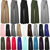 Women's OL Office Loose Stretch High Waist Wide Leg Long Pants Palazzo Trousers