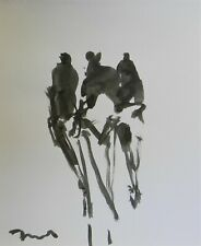 JOSE TRUJILLO - NEW Black INK WASH on Paper Collectible 14x17 Three Figures