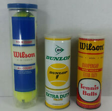 Lot of 3 Cans Vintage Tennis Balls Wilson Championship Dunlop 1 Extra Duty