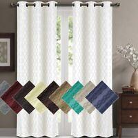 2 Panels Willow Blackout Window Curtain Panels Heat Full Light Blocking Drapes
