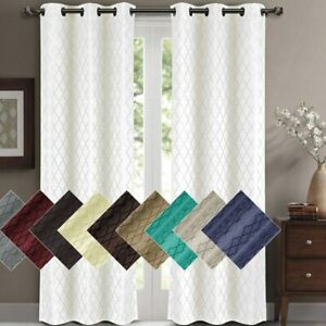 2 Panels Willow Blackout Window Curtain Panels Heat Full Light Blocking Drapes