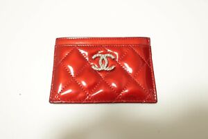 Authentic CHANEL Red Patent Leather Pass card case Holder #8657