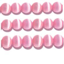 "Cats Eye Beads 6mm Pink Strand Grade ""A"" Fiber optic 65 Beads per strand"