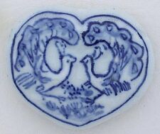 ONE Large Heart Peacock Porcelain Bead  2 1/10 Inches x 1 3/4 Inches PB5