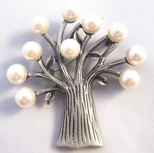 Brushed Silver and Faux Pearl Tree of Life Brooch Brand New in Gift Box Bridal