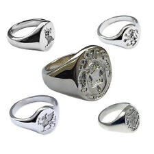925 Sterling Silver Your INDIVIDUAL FAMILY CREST Oval Signet Rings Hand Engraved