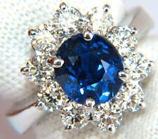 █$16,000 GIA 4.18CT NO HEAT NATURAL SAPPHIRE DIAMOND RING CLUSTER UNHEATED BLUE