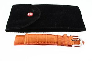 Michele 18mm Orange Alligator Strap Band with SS Tang Buckle w/ Case
