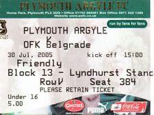 Ticket - Plymouth Argyle v OFK Belgrade 30.07.05 Pre-Season Friendly