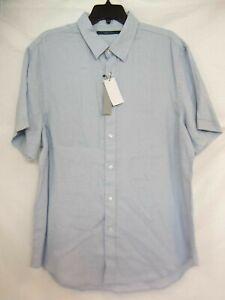 Perry Ellis Size XL Blue Line Short Sleeve Shirt New Mens Shirts