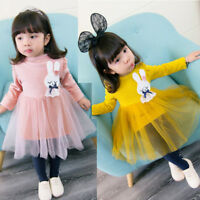 Toddler Kids Baby Girl Long Sleeve Bunny Tulle Party Wedding Princess Tutu Dress